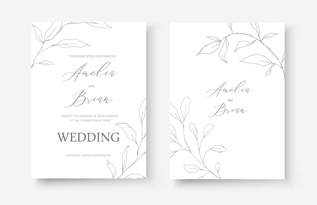 結婚式の線画の招待カード