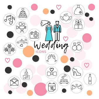 Wedding line icons collection with couple music cake dress rings shoe pigeons champagne bottle letter
