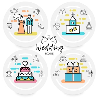 Wedding line icons concept with bride groom shoe heart church camera cake rings letter fireworks dress