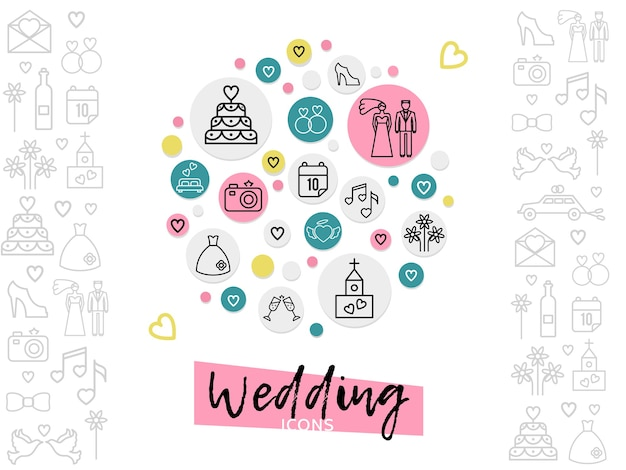 Wedding line icons concept with couple cake shoe rings date church fireworks camera dress