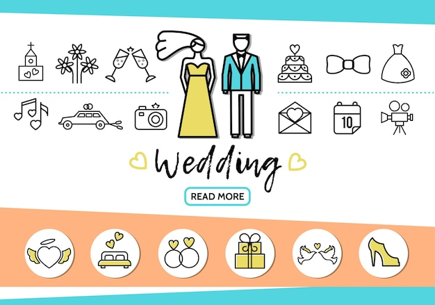 Wedding line icons set with couple church fireworks glasses cake dress car camera letter date bed rings