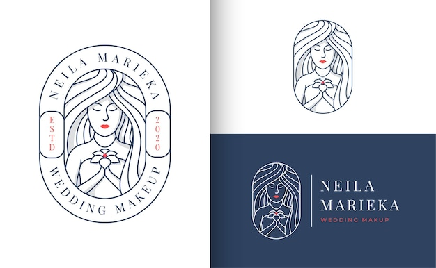 Wedding logo badge with a woman holding flowers