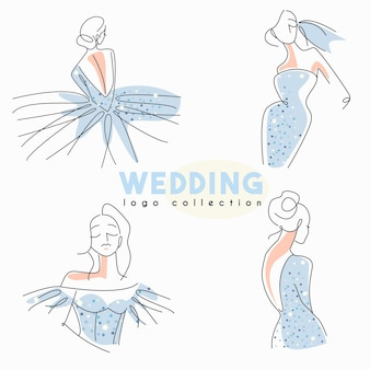 Wedding logo collection with line art bride in sparkling dress