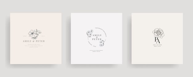 Wedding logo floral design collection