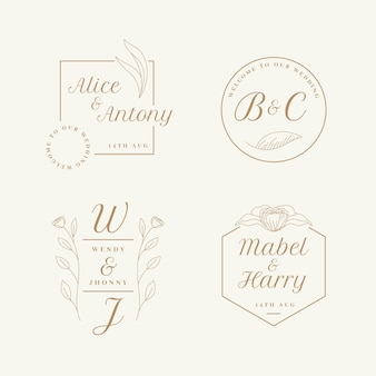Wedding logo set flat design