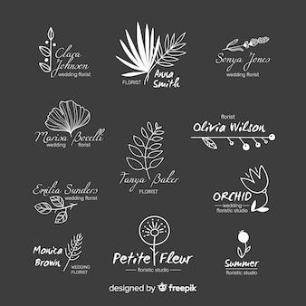 Wedding logo set for florist Free Vector
