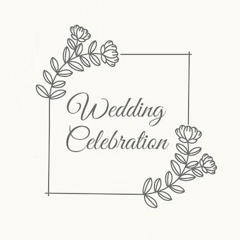 Modello di vettore di logo di nozze in stile botanico