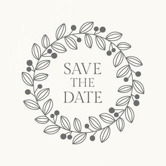 Wedding logo vector template in botanical style