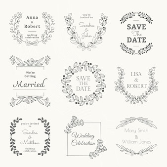 Wedding logo vector template in floral style set