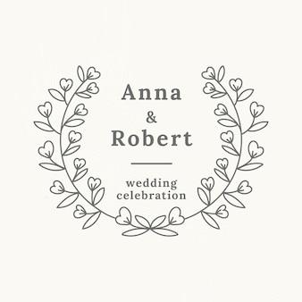 植物のスタイルの結婚式のロゴのベクトルテンプレート