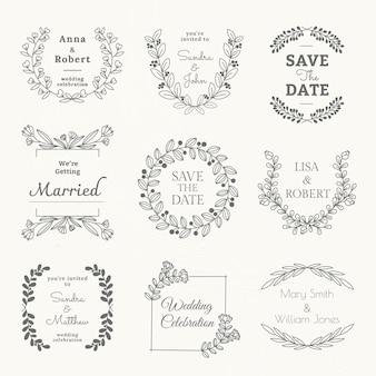 花のスタイルのセットで結婚式のロゴのベクトルテンプレート