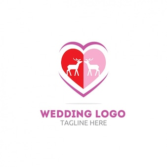 Wedding logo with heart and deers