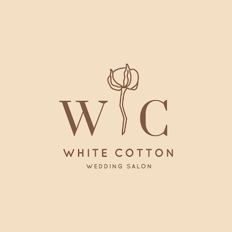 최소한의 트렌디한 스타일의 웨딩 로고. 라이너 꽃 레이블 및 배지 - 벡터 아이콘, 스티커, 스탬프, 웨딩 살롱 및 신부 가게 드레스에 대한 면화 꽃 태그