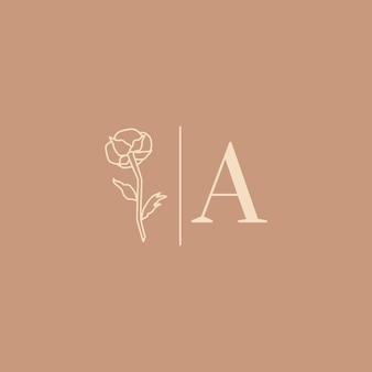최소한의 트렌디한 스타일의 웨딩 로고. 라이너 꽃 레이블 및 문자 a가 있는 배지 - 벡터 아이콘, 스티커, 스탬프, 웨딩 살롱 및 신부 가게 드레스용 목화 꽃 태그