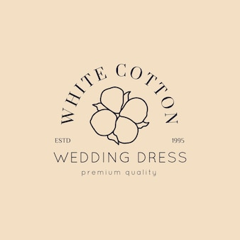 Wedding logos in minimal trendy style. liner floral labels and badges - vector icon, sticker, stamp, tag with cotton flower for wedding salon and bridal shop dresses