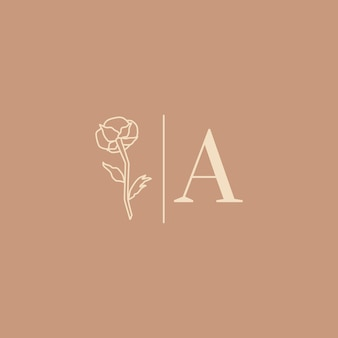 Wedding logos in minimal trendy style. liner floral labels and badges with letter a - vector icon, sticker, stamp, tag with cotton flower for wedding salon and bridal shop dresses