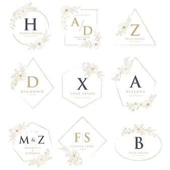 Wedding logos with floral decorations