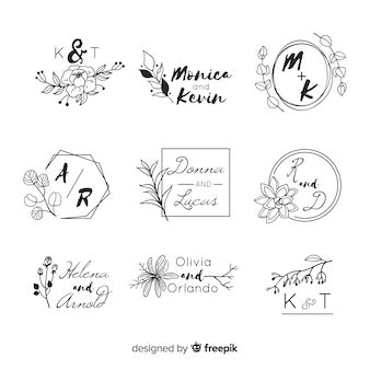 Wedding logos with monogram letters
