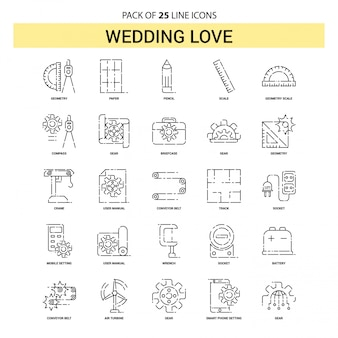 Wedding love line icon set - 25 dashed outline style