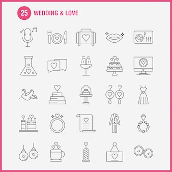 Wedding and love line icons set for infographics, mobile ux/ui kit