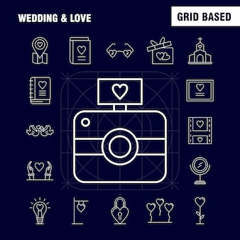 Wedding and love line icons set