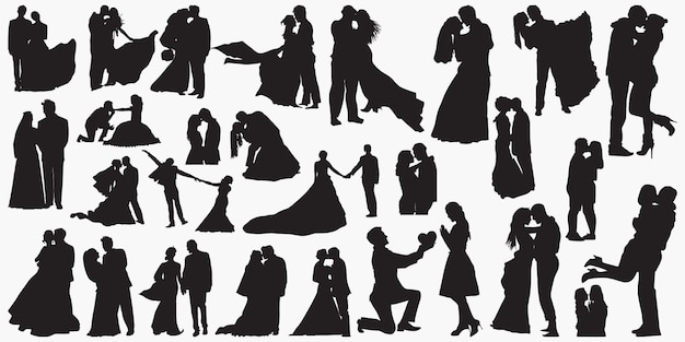 結婚式の愛のシルエット