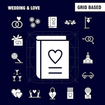 Wedding and love solid glyph icons