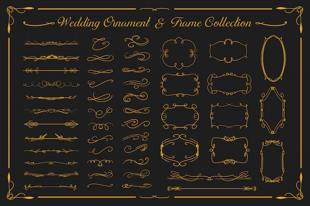 Wedding luxury gold ornament and vintage frame collection set for invitation card etc