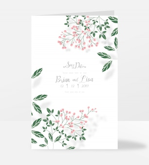Wedding luxury greeting card template pine forest style.