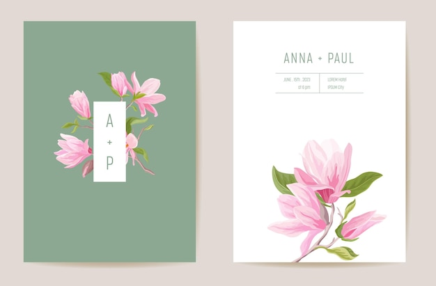 Wedding magnolia spring flowers invitation card. floral pastel vector frame. watercolor template botanical save the date foliage cover, modern poster, trendy design, luxury background