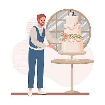 Свадебный менеджер в строгом платье проверяет свадебный торт