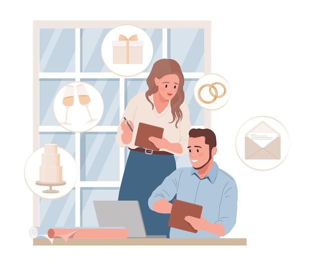 Свадебные менеджеры или жених и невеста планируют свадебную церемонию