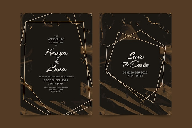 Wedding marble card invitation template concept