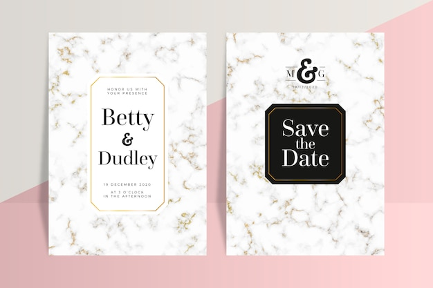 Wedding marble card template concept