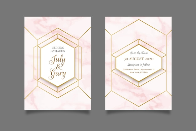 Wedding marble card template