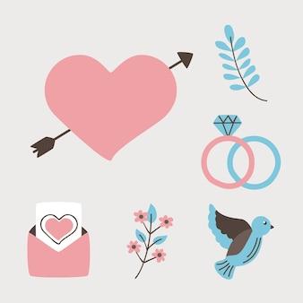 結婚式の結婚と愛の要素を設定します