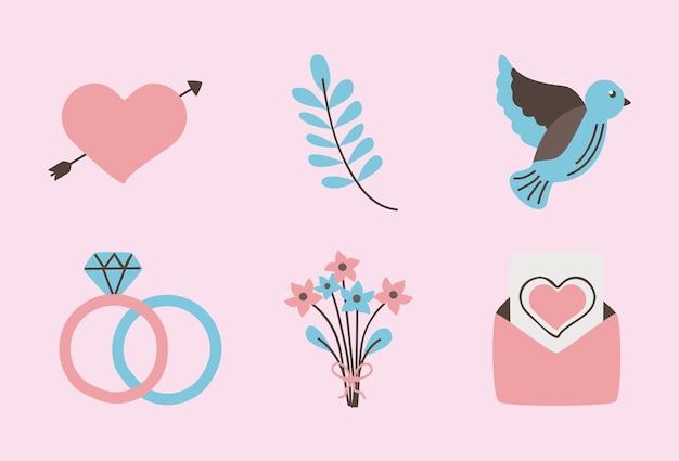 結婚式の結婚と愛のアイコンコレクション
