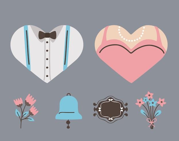 結婚式の結婚と愛のシンボルセット