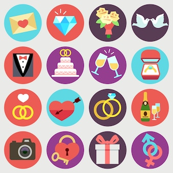 Wedding marriage bridal vector flat icons. set of wedding elements isolated in circles, illustration