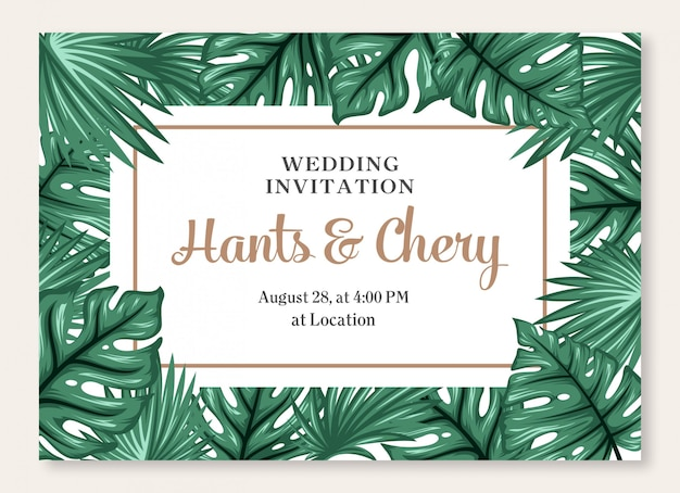 Wedding marriage event invitation card template.