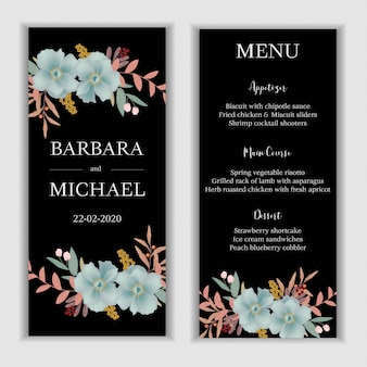Wedding menu card template with blue flower decoration