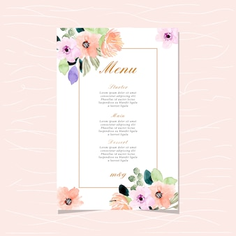 Wedding menu card with beautiful watercolor floral border