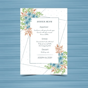Wedding menu card with blue flower