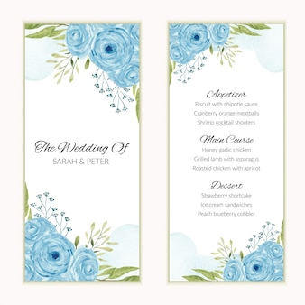 Wedding menu card with watercolor blue rose flower frame