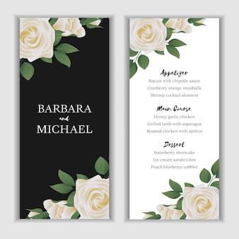 Wedding menu card with white rose flower decoration