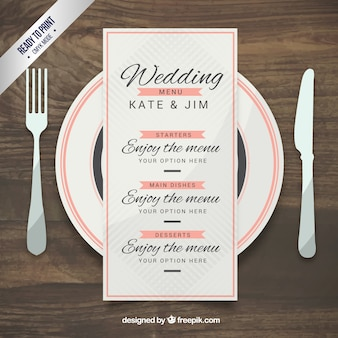 Wedding menu template in elegant style