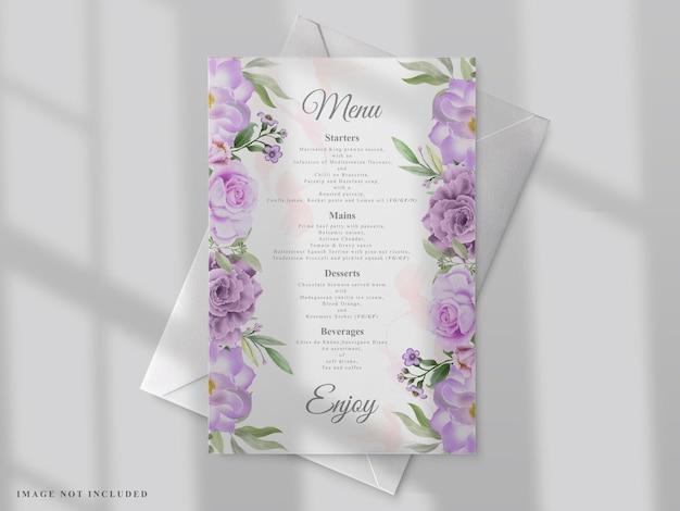手描きの花と結婚式のメニューテンプレート