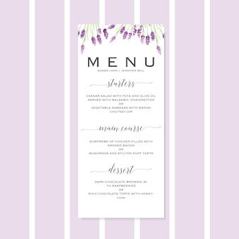 Wedding menu template with hand drawn watercolor lavander flowers
