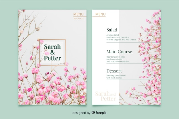 Wedding menu template with photo