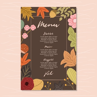 Wedding menu with autumn floral background
